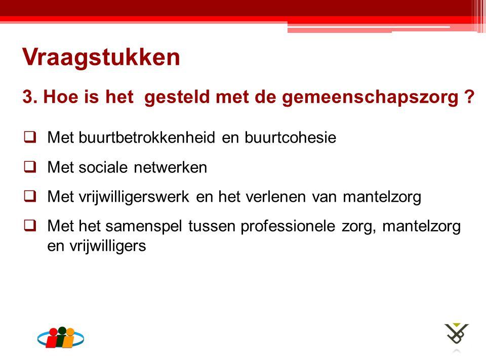 3. Hoe is het gesteld met de gemeenschapszorg ?  Met buurtbetrokkenheid en buurtcohesie  Met sociale netwerken  Met vrijwilligerswerk en het verlen