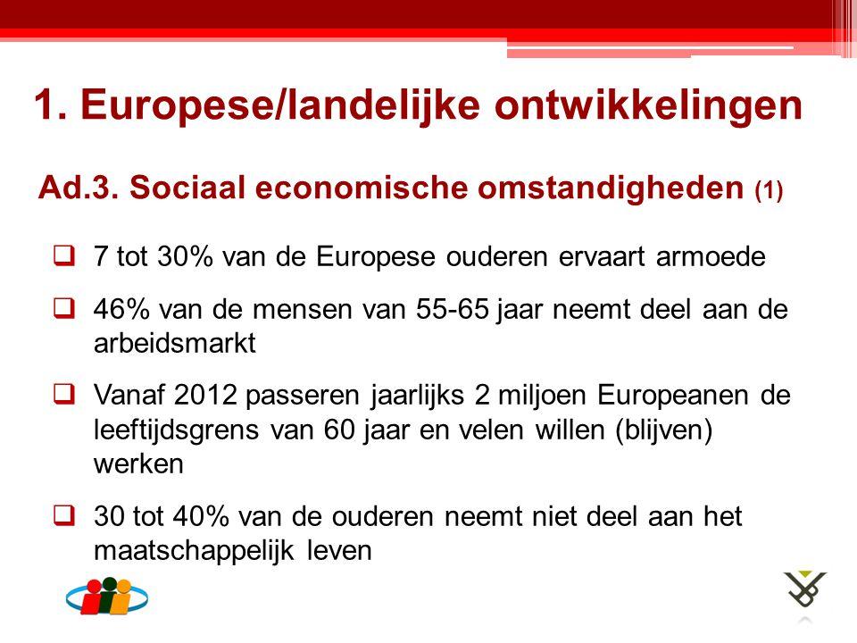  7 tot 30% van de Europese ouderen ervaart armoede  46% van de mensen van 55-65 jaar neemt deel aan de arbeidsmarkt  Vanaf 2012 passeren jaarlijks