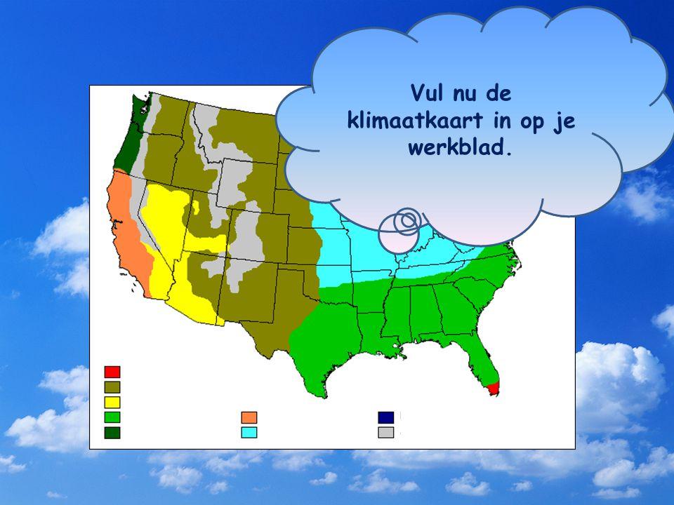 Door de enorme uitgestrektheid van de VS komen er veel verschillende klimaten voor. Jij moet straks –zonder atlas te gebruiken- de legenda bij deze kl