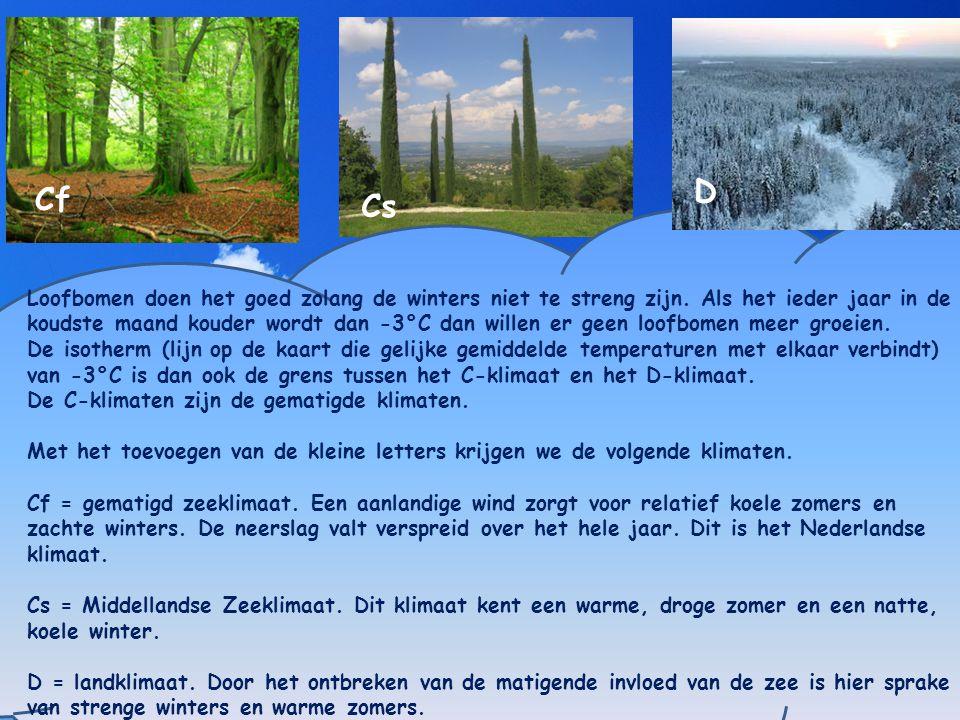 Poolklimaat Loofbomen doen het goed zolang de winters niet te streng zijn. Als het ieder jaar in de koudste maand kouder wordt dan -3°C dan willen er