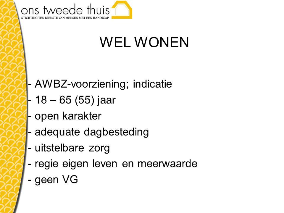 WEL WONEN - AWBZ-voorziening; indicatie - 18 – 65 (55) jaar - open karakter - adequate dagbesteding - uitstelbare zorg - regie eigen leven en meerwaarde - geen VG