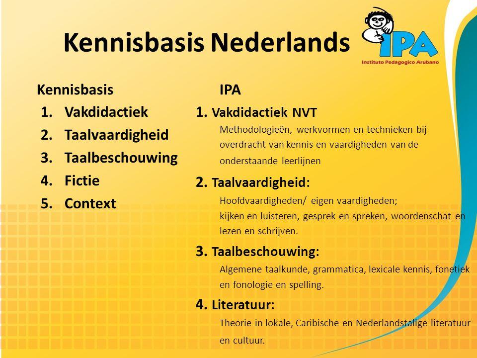 Kennisbasis Nederlands Kennisbasis 1.Vakdidactiek 2.Taalvaardigheid 3.Taalbeschouwing 4.Fictie 5.Context IPA 1.