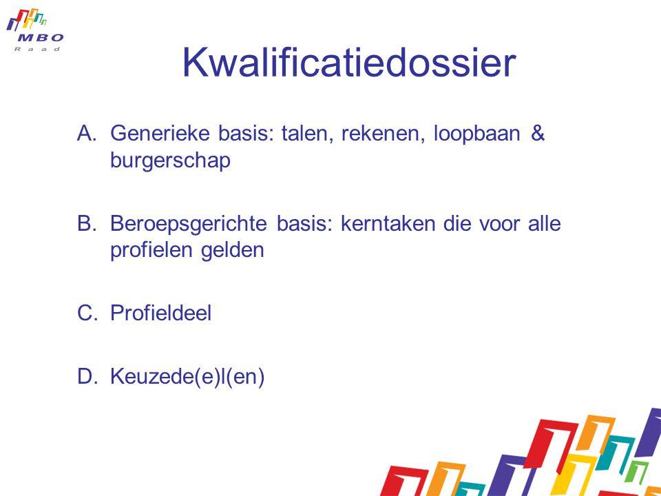 Kwalificatiedossier A.Generieke basis: talen, rekenen, loopbaan & burgerschap B.Beroepsgerichte basis: kerntaken die voor alle profielen gelden C.Prof