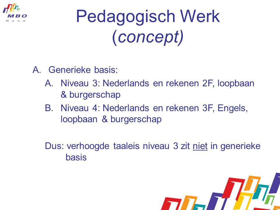 Pedagogisch Werk (concept) A.Generieke basis: A.Niveau 3: Nederlands en rekenen 2F, loopbaan & burgerschap B.Niveau 4: Nederlands en rekenen 3F, Engel