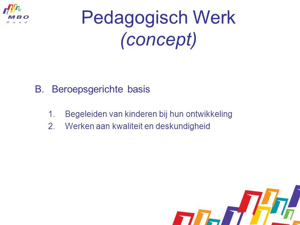 Pedagogisch Werk (concept) B.Beroepsgerichte basis 1.Begeleiden van kinderen bij hun ontwikkeling 2.Werken aan kwaliteit en deskundigheid