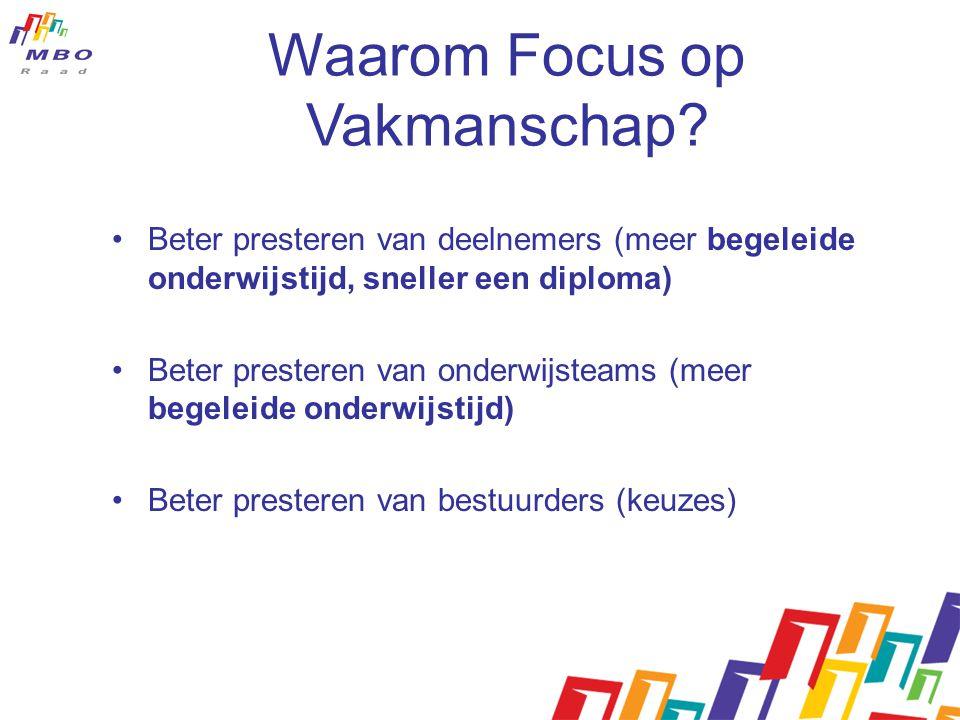 Waarom Focus op Vakmanschap? •Beter presteren van deelnemers (meer begeleide onderwijstijd, sneller een diploma) •Beter presteren van onderwijsteams (