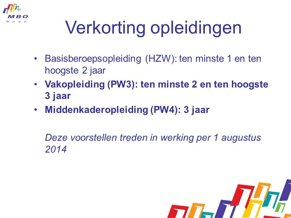 Verkorting opleidingen •Basisberoepsopleiding (HZW): ten minste 1 en ten hoogste 2 jaar •Vakopleiding (PW3): ten minste 2 en ten hoogste 3 jaar •Midde