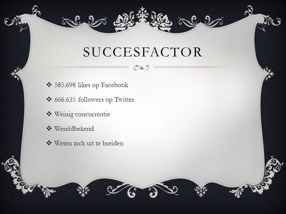 SUCCESFACTOR  585.698 likes op Facebook  666.635 followers op Twitter  Weinig concurrentie  Wereldbekend  Weten zich uit te breiden