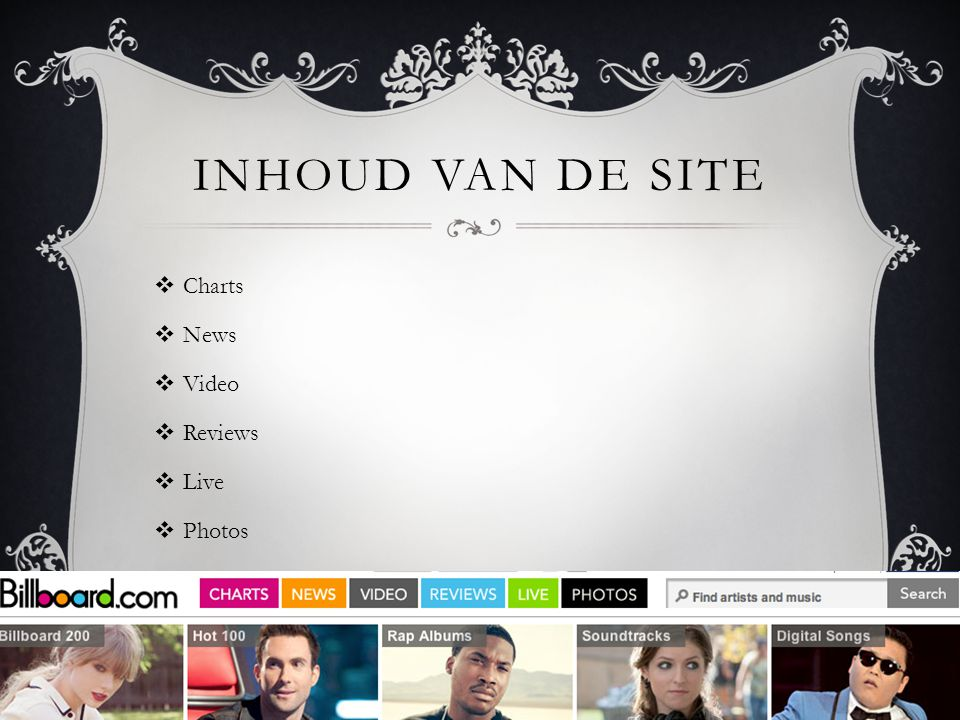 INHOUD VAN DE SITE  Charts  News  Video  Reviews  Live  Photos