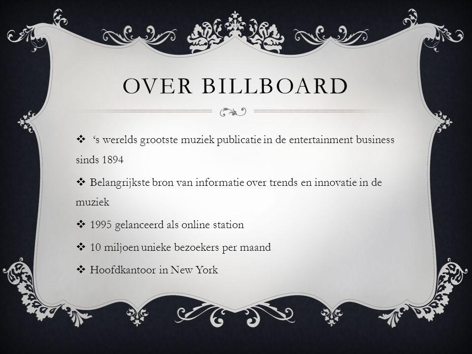 OVER BILLBOARD  's werelds grootste muziek publicatie in de entertainment business sinds 1894  Belangrijkste bron van informatie over trends en inno