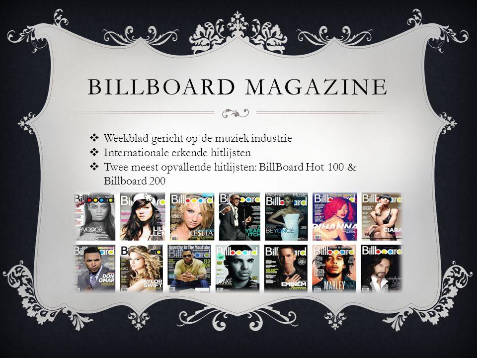 BILLBOARD MAGAZINE  Weekblad gericht op de muziek industrie  Internationale erkende hitlijsten  Twee meest opvallende hitlijsten: BillBoard Hot 100