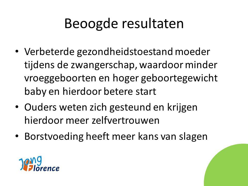 Beoogde resultaten • Verbeterde gezondheidstoestand moeder tijdens de zwangerschap, waardoor minder vroeggeboorten en hoger geboortegewicht baby en hi