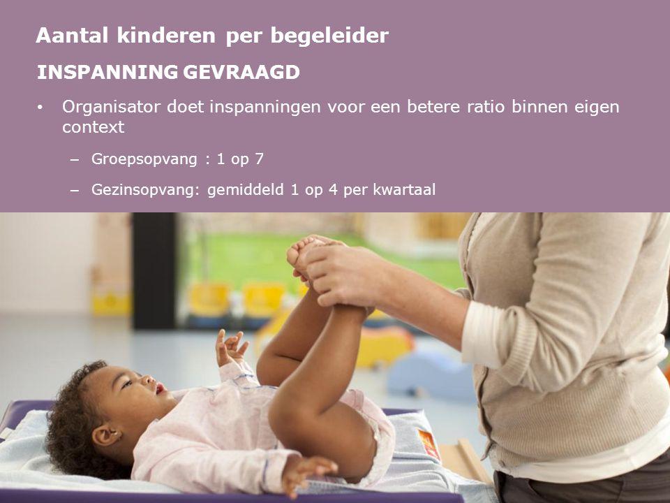 INSPANNING GEVRAAGD • Organisator doet inspanningen voor een betere ratio binnen eigen context – Groepsopvang : 1 op 7 – Gezinsopvang: gemiddeld 1 op 4 per kwartaal Aantal kinderen per begeleider