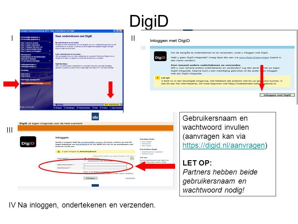 DigiD Gebruikersnaam en wachtwoord invullen (aanvragen kan via https://digid.nl/aanvragen) https://digid.nl/aanvragen LET OP: Partners hebben beide ge
