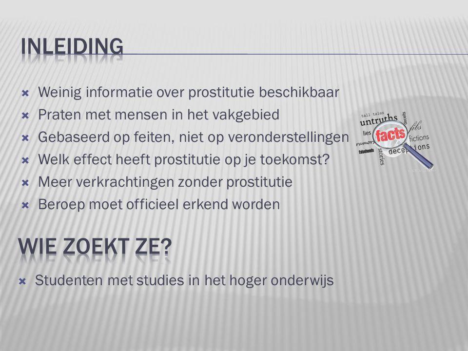 Weinig informatie over prostitutie beschikbaar  Praten met mensen in het vakgebied  Gebaseerd op feiten, niet op veronderstellingen  Welk effect