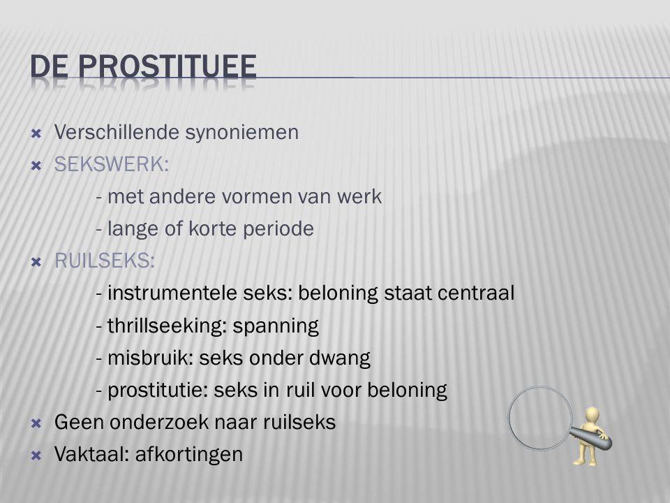  Verschillende synoniemen  SEKSWERK: - met andere vormen van werk - lange of korte periode  RUILSEKS: - instrumentele seks: beloning staat centraal