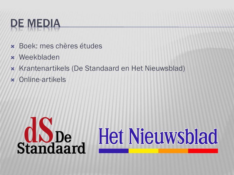  Boek: mes chères études  Weekbladen  Krantenartikels (De Standaard en Het Nieuwsblad)  Online-artikels