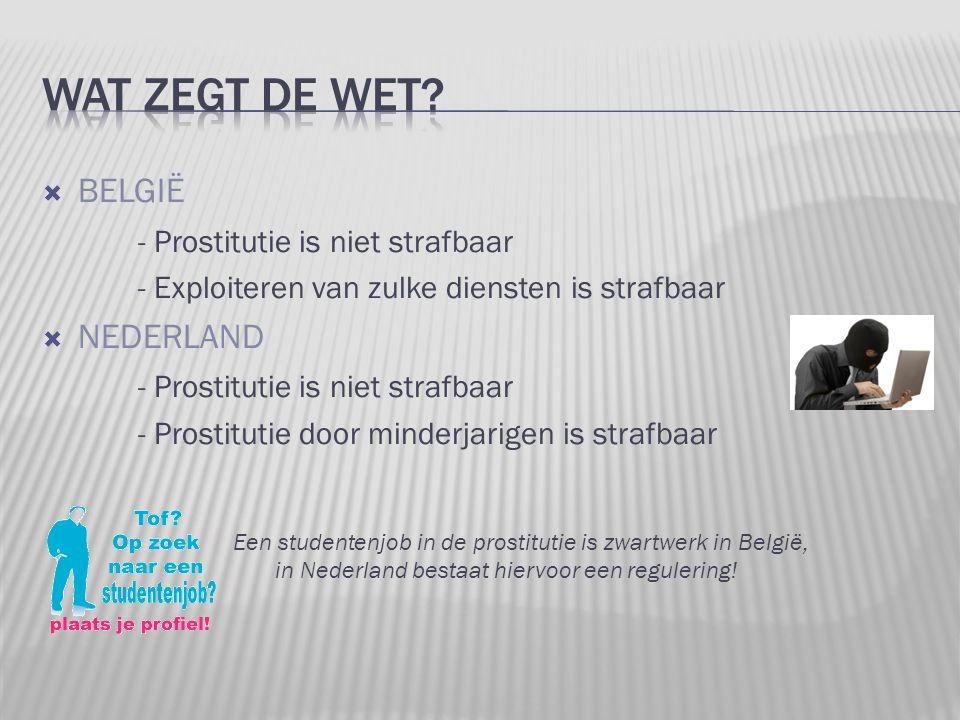  BELGIË - Prostitutie is niet strafbaar - Exploiteren van zulke diensten is strafbaar  NEDERLAND - Prostitutie is niet strafbaar - Prostitutie door