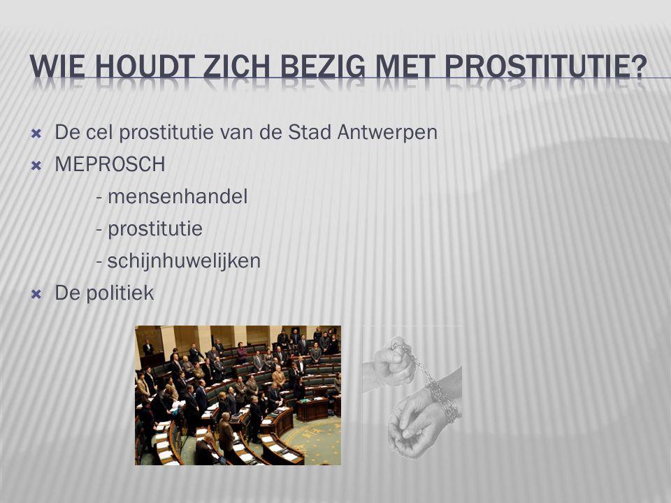  De cel prostitutie van de Stad Antwerpen  MEPROSCH - mensenhandel - prostitutie - schijnhuwelijken  De politiek