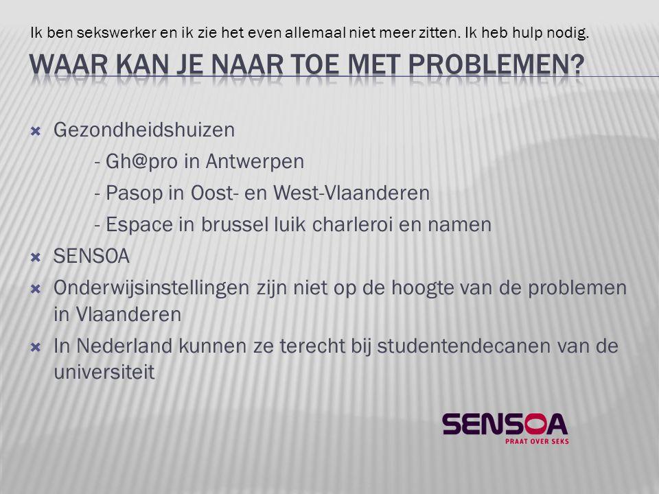  Gezondheidshuizen - Gh@pro in Antwerpen - Pasop in Oost- en West-Vlaanderen - Espace in brussel luik charleroi en namen  SENSOA  Onderwijsinstelli