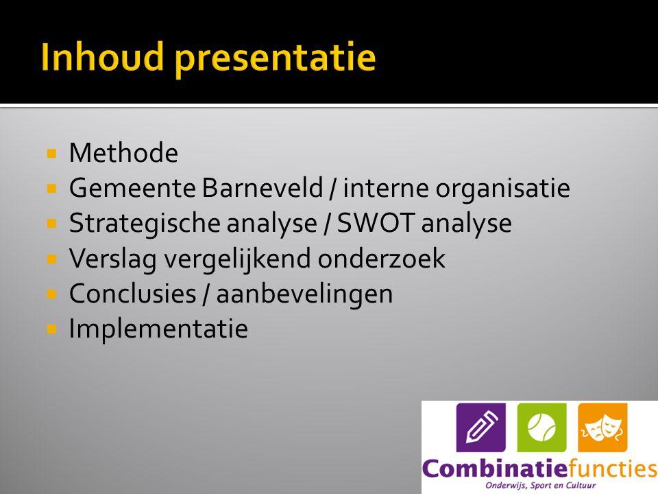 Methode  Gemeente Barneveld / interne organisatie  Strategische analyse / SWOT analyse  Verslag vergelijkend onderzoek  Conclusies / aanbevelingen  Implementatie
