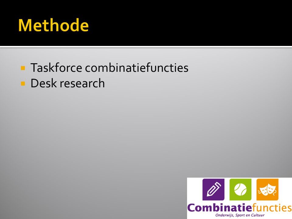  Taskforce combinatiefuncties  Desk research