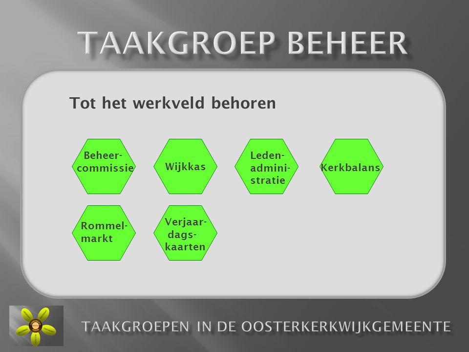 Tot het werkveld behoren Beheer- commissie Wijkkas Leden- admini- stratie Kerkbalans Rommel- markt Verjaar- dags- kaarten