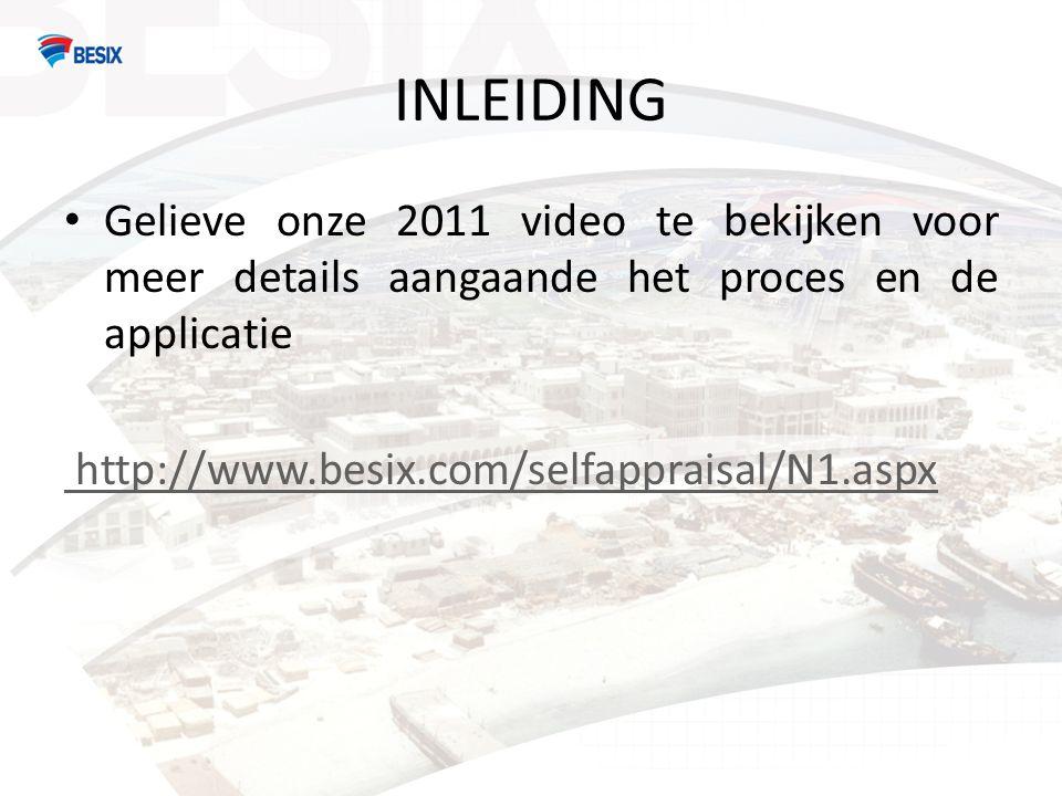 INLEIDING • Gelieve onze 2011 video te bekijken voor meer details aangaande het proces en de applicatie http://www.besix.com/selfappraisal/N1.aspx