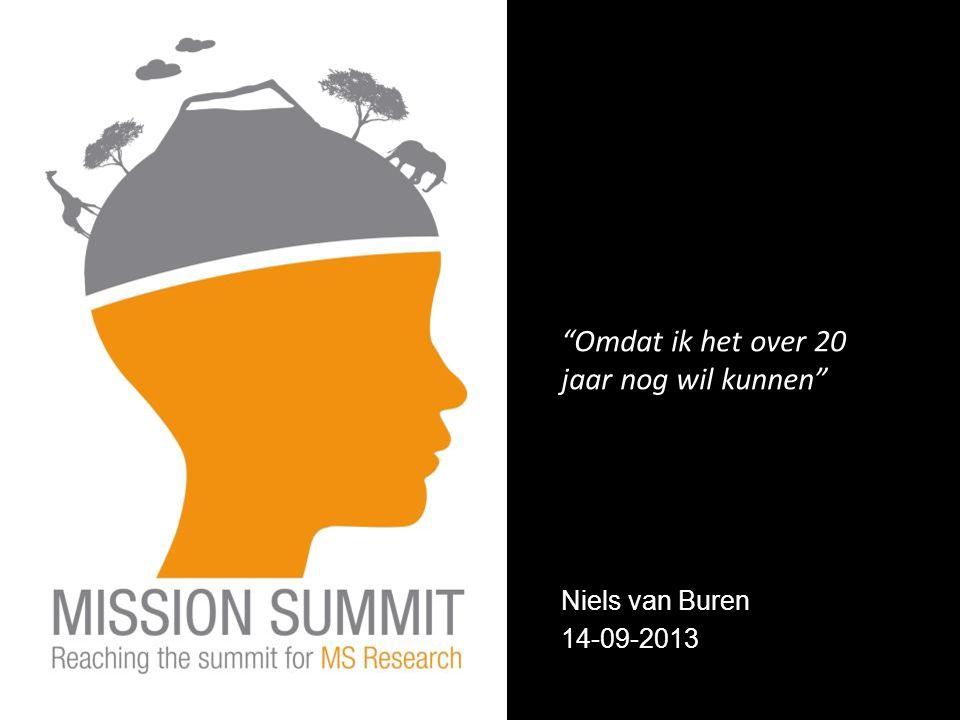 Niels van Buren 14-09-2013 Omdat ik het over 20 jaar nog wil kunnen