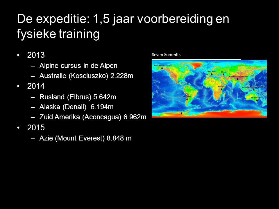 De expeditie: 1,5 jaar voorbereiding en fysieke training •2013 –Alpine cursus in de Alpen –Australie (Kosciuszko) 2.228m •2014 –Rusland (Elbrus) 5.642m –Alaska (Denali) 6.194m –Zuid Amerika (Aconcagua) 6.962m •2015 –Azie (Mount Everest) 8.848 m Seven Summits