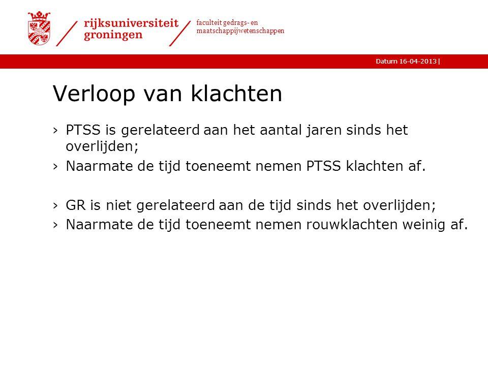 |Datum 16-04-2013 faculteit gedrags- en maatschappijwetenschappen Verloop van klachten ›PTSS is gerelateerd aan het aantal jaren sinds het overlijden;