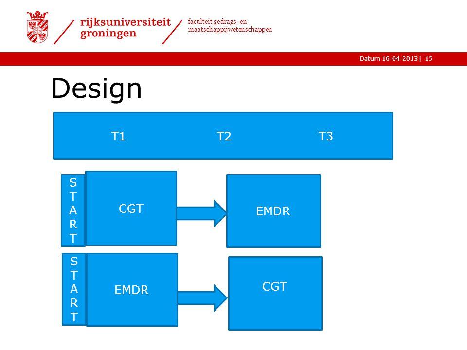 |Datum 16-04-2013 faculteit gedrags- en maatschappijwetenschappen Design 15 CGT EMDR CGT STARTSTART STARTSTART T1 T2 T3