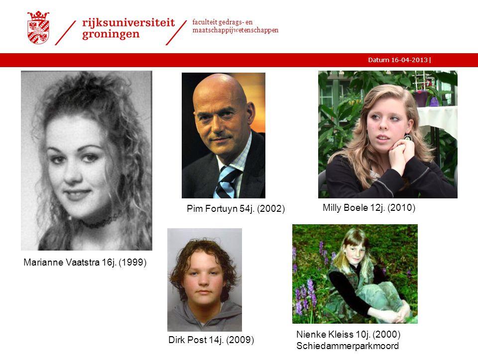 |Datum 16-04-2013 faculteit gedrags- en maatschappijwetenschappen 3 Marianne Vaatstra 16j. (1999) Dirk Post 14j. (2009) Nienke Kleiss 10j. (2000) Schi