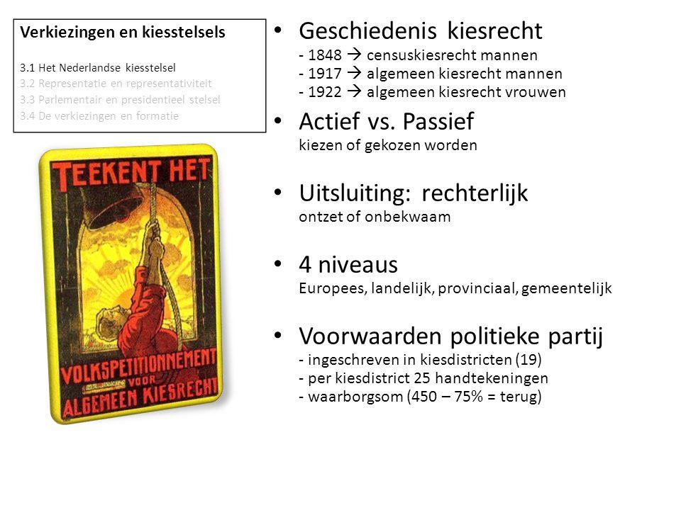 Verkiezingen en kiesstelsels 3.1 Het Nederlandse kiesstelsel 3.2 Representatie en representativiteit 3.3 Parlementair en presidentieel stelsel 3.4 De verkiezingen en formatie • Evenredige vertegenwoordiging % behaalde stemmen = % zetels • Kiesdeler aantal stemmen benodigd voor één zetel • Kiesdrempel [niet in NL] minimumpercentage voor zeteltoewijzing • Districtenstelsel - één ronde.