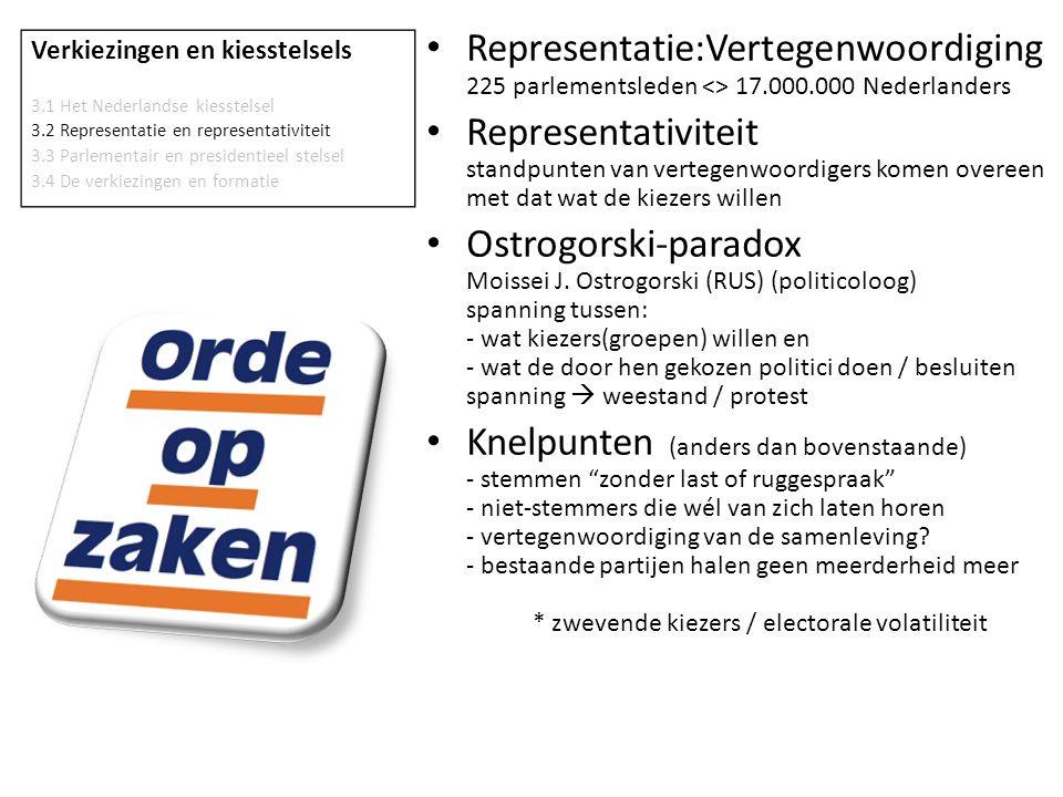 Verkiezingen en kiesstelsels 3.1 Het Nederlandse kiesstelsel 3.2 Representatie en representativiteit 3.3 Parlementair en presidentieel stelsel 3.4 De verkiezingen en formatie • Parlementair - volksvertegenwoordiging = parlement - parlement vormt regering - minister-president = hoofd regering - minister-president ≠ staatshoofd • Presidentieel - president = gekozen door het volk - president = staatshoofd - president = hoofd regering - president stelt regering samen - parlement kan regering niet ontslaan - president kan parlement niet ontslaan - parlement kan president uit ambt zetten (ivm schending grondrecht) President Ts.Elbegdorj