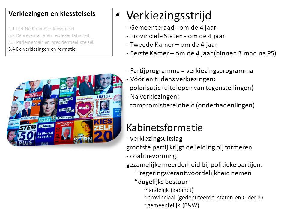 Verkiezingen en kiesstelsels 3.1 Het Nederlandse kiesstelsel 3.2 Representatie en representativiteit 3.3 Parlementair en presidentieel stelsel 3.4 De verkiezingen en formatie • Proces van kabinetsformatie 1.TK benoemd 'verkenner' (2012  H.