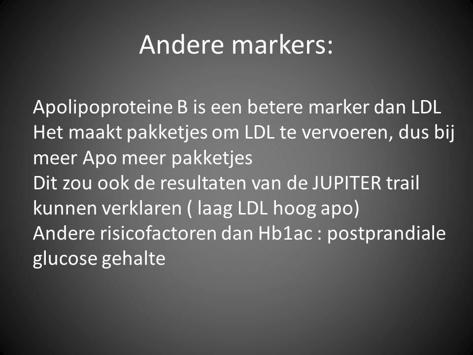 Apolipoproteine B is een betere marker dan LDL Het maakt pakketjes om LDL te vervoeren, dus bij meer Apo meer pakketjes Dit zou ook de resultaten van