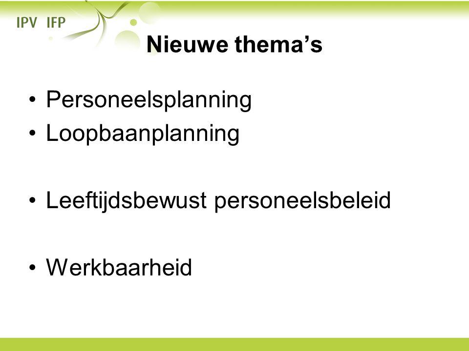 Nieuwe thema's •Personeelsplanning •Loopbaanplanning •Leeftijdsbewust personeelsbeleid •Werkbaarheid