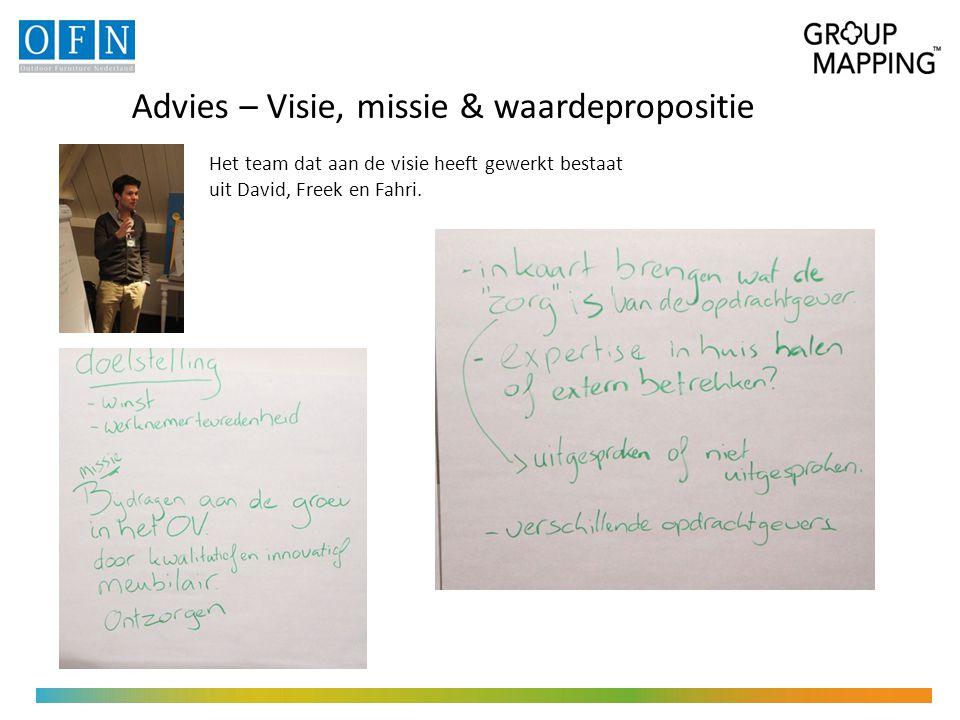 Advies – Visie, missie & waardepropositie Het team dat aan de visie heeft gewerkt bestaat uit David, Freek en Fahri.