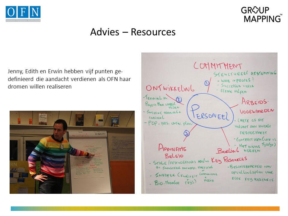 Advies – Resources Jenny, Edith en Erwin hebben vijf punten ge- definieerd die aandacht verdienen als OFN haar dromen willen realiseren