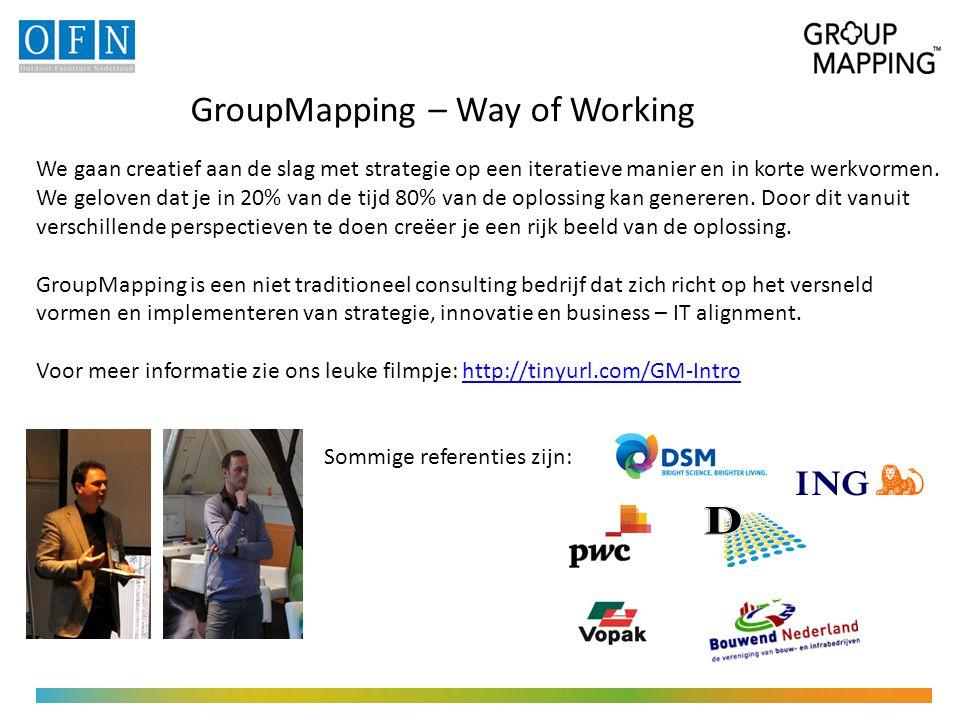 GroupMapping – Way of Working We gaan creatief aan de slag met strategie op een iteratieve manier en in korte werkvormen.