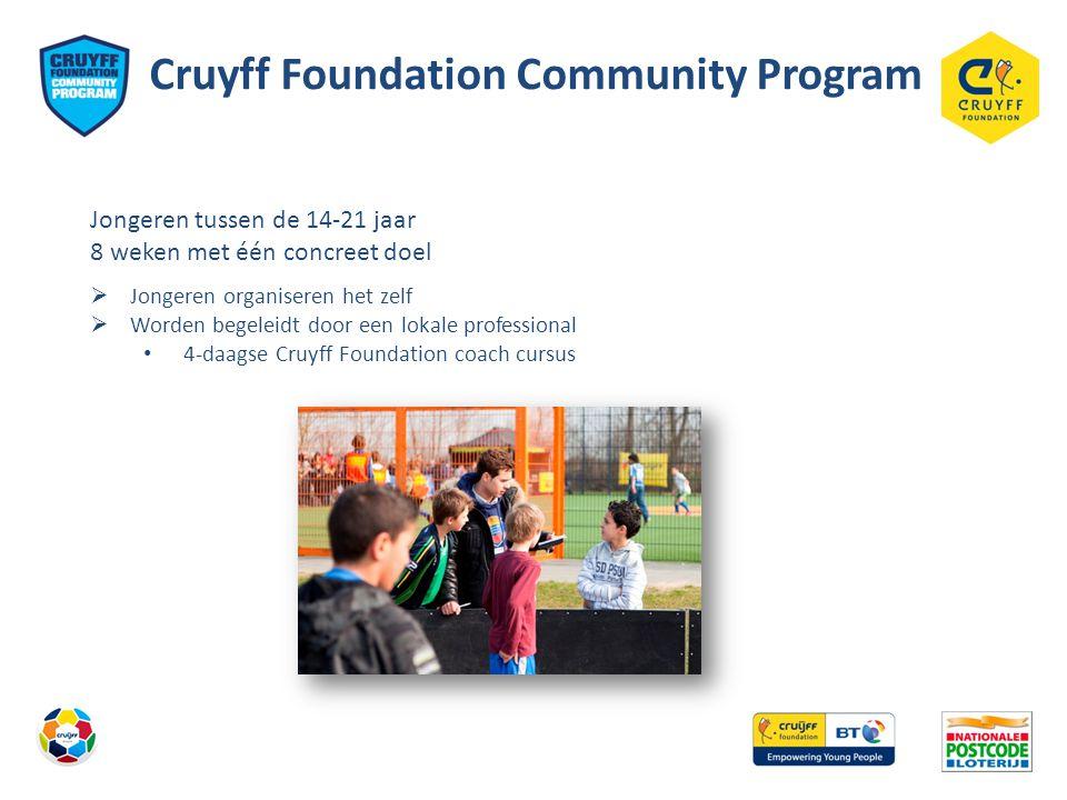 Cruyff Foundation Community Program Jongeren tussen de 14-21 jaar 8 weken met één concreet doel  Jongeren organiseren het zelf  Worden begeleidt door een lokale professional • 4-daagse Cruyff Foundation coach cursus