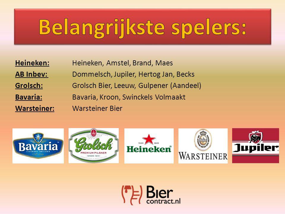Heineken: Heineken, Amstel, Brand, Maes AB Inbev: Dommelsch, Jupiler, Hertog Jan, Becks Grolsch:Grolsch Bier, Leeuw, Gulpener (Aandeel) Bavaria:Bavaria, Kroon, Swinckels Volmaakt Warsteiner:Warsteiner Bier