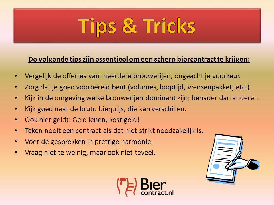 De volgende tips zijn essentieel om een scherp biercontract te krijgen: • Vergelijk de offertes van meerdere brouwerijen, ongeacht je voorkeur.