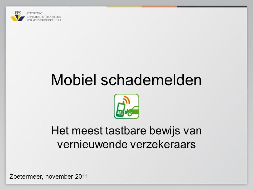 Scope fase I benadering klant Mobiel Schade Melden.nl Schade behandeling maatschappij Web site verzekeraar App store Android market www.mobielschademelden.nl Maatschappij app Web site in aansluiting op Mobielschademelden.nl
