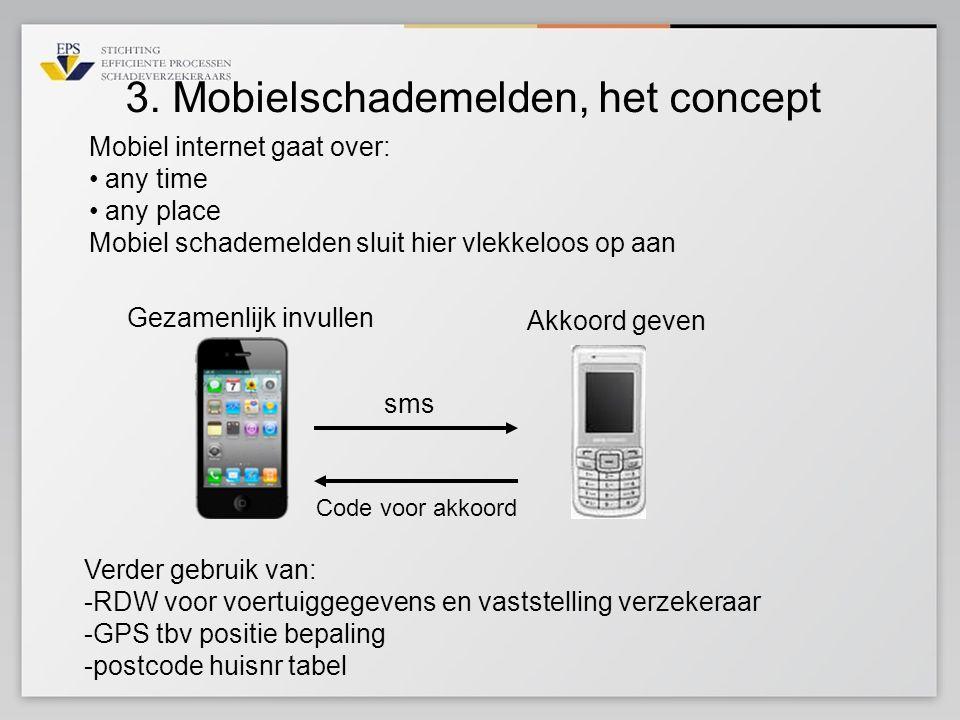 3. Mobielschademelden, het concept Gezamenlijk invullen sms Akkoord geven Code voor akkoord Verder gebruik van: -RDW voor voertuiggegevens en vaststel