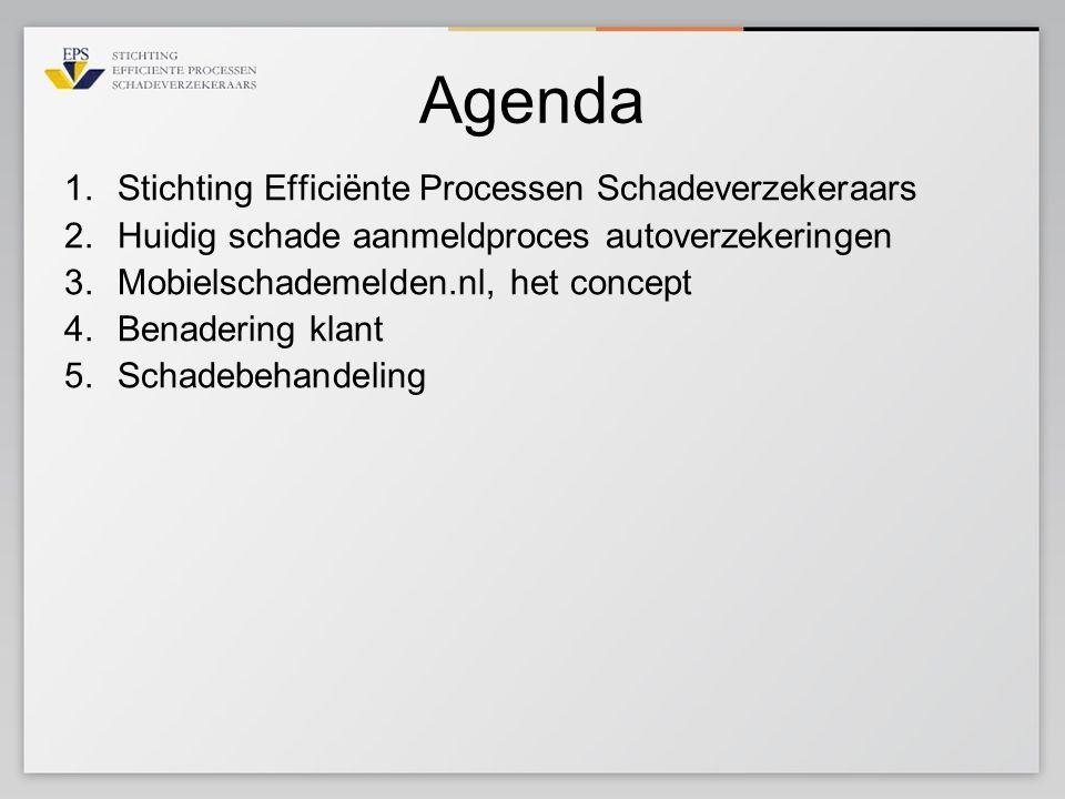 Agenda 1.Stichting Efficiënte Processen Schadeverzekeraars 2.Huidig schade aanmeldproces autoverzekeringen 3.Mobielschademelden.nl, het concept 4.Bena