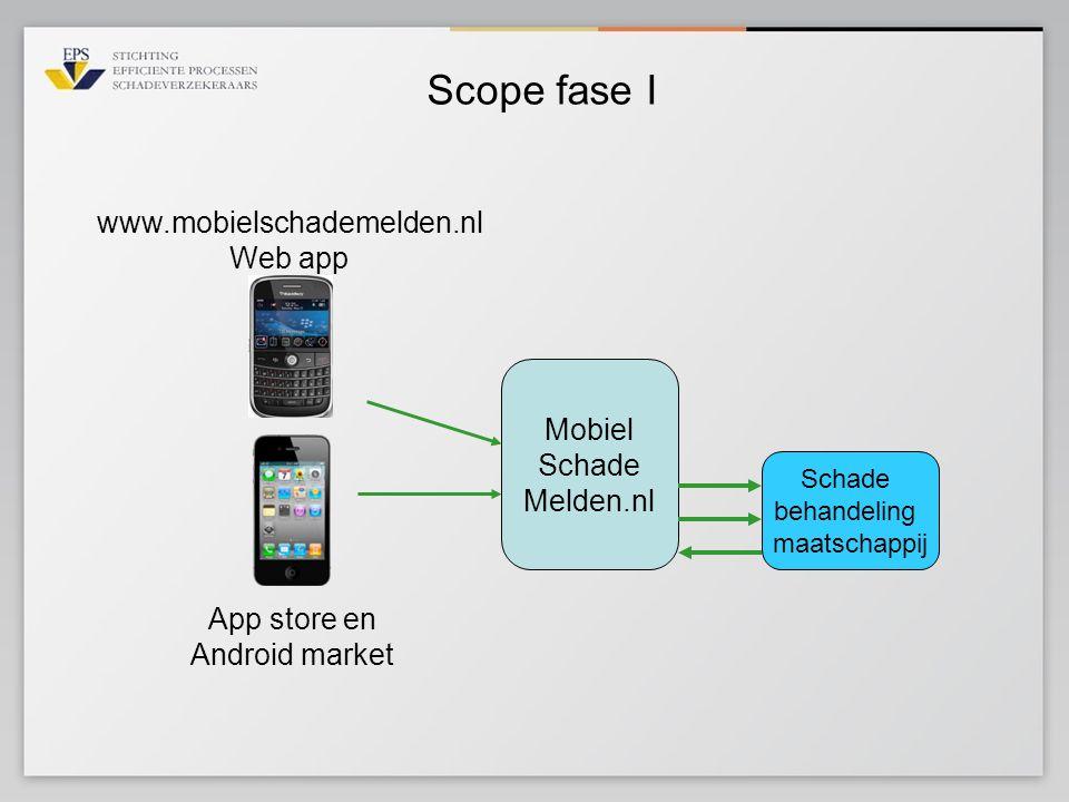Scope fase I Mobiel Schade Melden.nl www.mobielschademelden.nl Web app Schade behandeling maatschappij App store en Android market