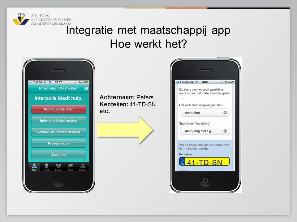 Integratie met maatschappij app Hoe werkt het? Achternaam: Peters Kenteken: 41-TD-SN etc.