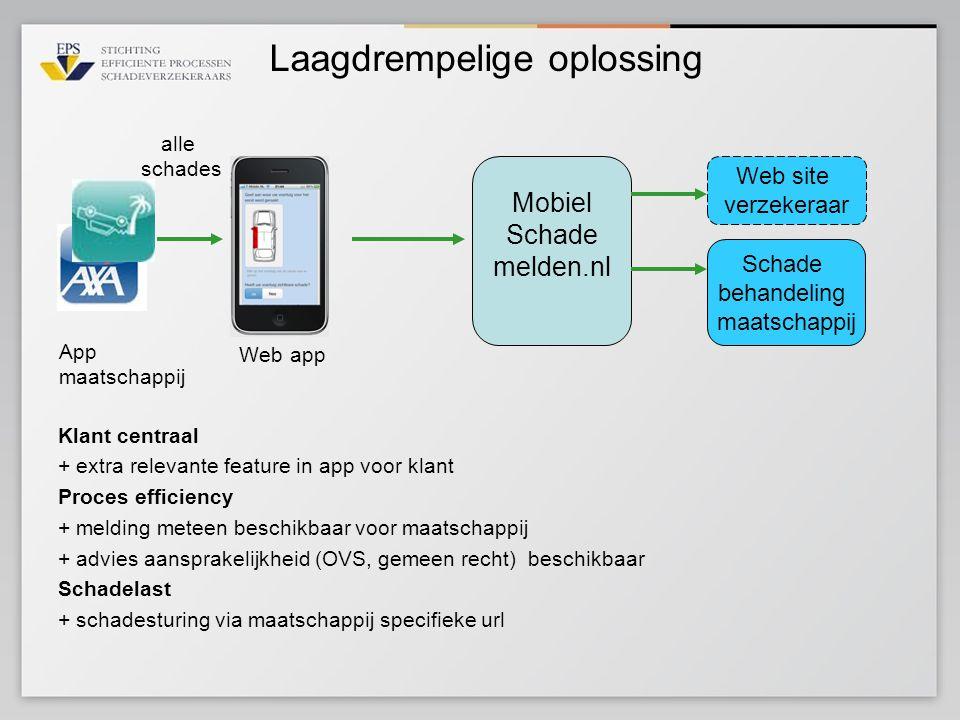 Laagdrempelige oplossing Mobiel Schade melden.nl Schade behandeling maatschappij Web site verzekeraar App maatschappij Web app Klant centraal + extra